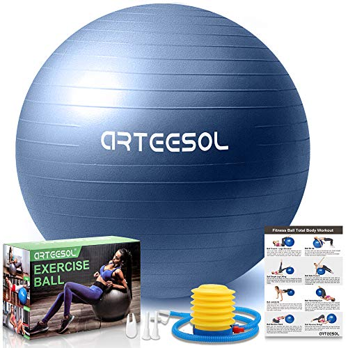 arteesol Gymnastikball, Balance Ball 45cm/55cm/65cm/75cm Yoga Ball mit Pumpe Anti-Burst Fitness Balance Ball für Core Strength (45 cm, Silber)