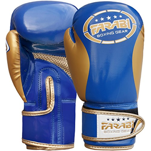 FARABI Kinder Boxhandschuhe, Junior Muay Thai Training Handschuhe, Kinder Boxsack mitt (Blue/Gold, 6-oz)