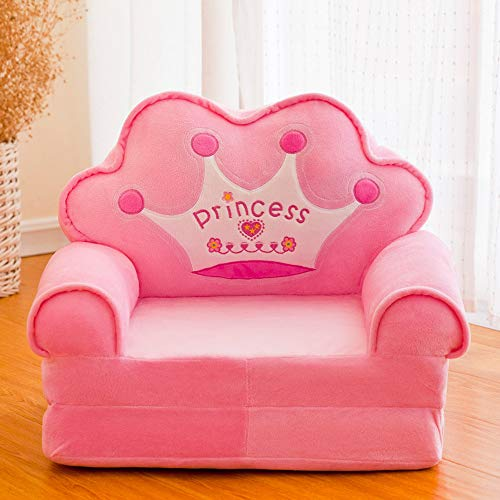 HIL Cartoon Children's Sofa, Crown Children's Armchair, Birthday Gifts for Girls And Boys Toys Lazy Upholstered Cute Baby Sofa Seat Kids Chair Removable And Washable,Pink