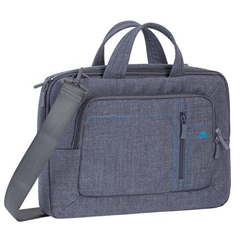 """RIVACASE Tasche für Laptops bis 13.3"""" – Leichte und stilvolle Notebooktasche mit Zubehör Fächern und schicken Design - Grau"""