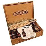 Experiencia de Cata en Estuche de Madera con 4 Cervezas Artesanas Sevebrau, Tabla de Cata, Vasos y Fichas Explicativas