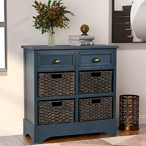 P PURLOVE Storage Chest Retro Style Storage Cabinet Storage Unit with 2 Wood Drawers and 4 Wicker Baskets for Home Kitchen Entryway Living Room Antique Navy