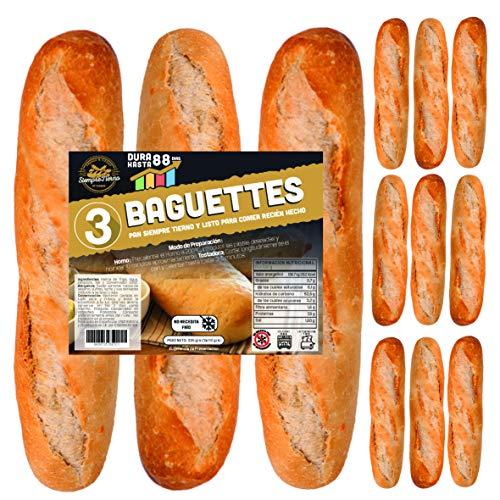 12 x Baguettes de Pan SiempreTierno 110 grs (1320 grs total) · Dura hasta 88 días sin necesitad de frio ni congelación · Ideal para cualquier momento · Embolsadas en Atmosfera Protectora .