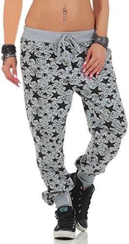 malito dames sweatbroek met Star Print | Baggy om te dansen | Joggingbroek met knopenrij | Sweatpants - Trainingsbroek 8020 (lichtgrijs)