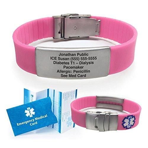 Silicone Sport Medical Alert ID Bracelet (Incl. 6 Lines of Custom Engraving). Choose Your Color! - (Pink)
