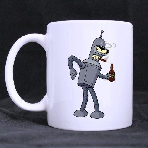Thorea Refreshus Cool Smoking Bender Futurama Taza blanca de diseño personalizado Taza de café/té de 11 oz