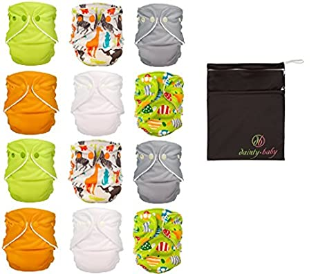 FuzziBunz® One Size Cloth Diapers 12 Pack Gender Neutral (new) Colors with Dainty Baby Reusable Bag Bundle, Colors May Vary