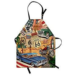 Lunarable Route 66 Apron, Old Fashioned Cars Motorcycle on a Map Road Trip Journey American USA Concept, Unisex Kitchen Bib with Adjustable Neck for Cooking Gardening, Adult Size, Beige Red
