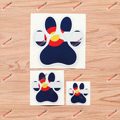 Dog Paw Print Track K9 Unit Colorado CO Flag Vinyl Decal Sticker - 3 Pack Reflective, 2 Inches, 3 Inches, 5 Inches - for Car Boat Laptop Cup Phone