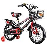FUFU Niños Bici 12/14/16/18 Pulgadas Chico Y Chica En Bicicleta, Apto For Niños De 2-13 Años De Edad con Ruedas Auxiliares, Soportes (Color : Red, Size : 12in)