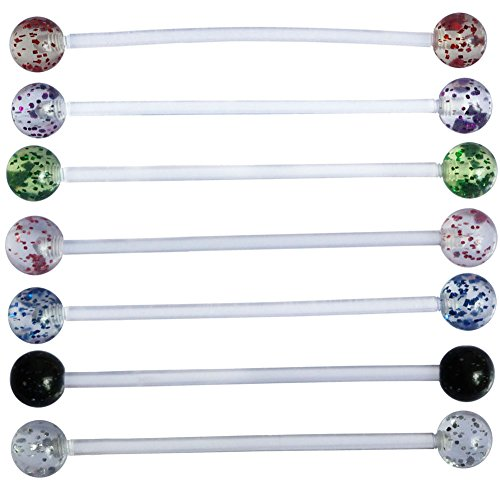 7pcs 14G Clear Glitter Balls Sport or Pregnancy Navel Belly Button Ring 1.5'' Flexible Bio Flex Barbell