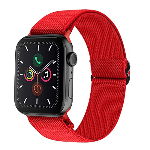 Tervoka Sports Band Kompatibel mit Apple Watch Armband 40mm 38mm, Nylon Stoff Schlaufe Ersatzarmband Sport Band für iWatch Series 6/SE/5/4/3/2/1, Red
