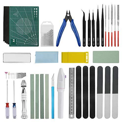 WMYCONGCONG 56 PCS Professional Gundam Modeler Basic Tools Craft Set Hobby Building Tools Kit for Car Model Building Repairing and Fixing