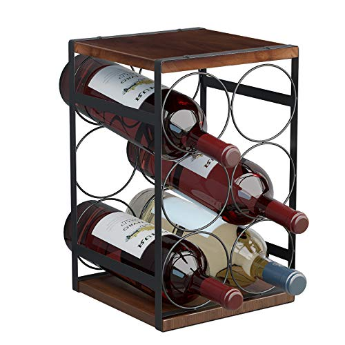 Mecor 6-Bottle Countertop Wine Rack, 3-Tier Tabletop Wood & Metal Wine Holder, Classic Design, Perfect for Home Decor, Bar, Wine Cellar, Basement, Cabinet, Black