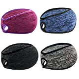 Yuhan Pretty 4 Pieces Ponytail Winter Headbands for Womens Ear Warmer Muff Yoga Running Headband for Women Girls Outdoor Sports(Black+Grey+Purple+Navy)