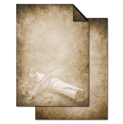 100 Blatt Briefpapier VINTAGE FÜLLER PAPIERROLLE DIN A4 altes Papier braun beige natur Druckerpapier einseitig bedruckt 100g Schreibpapier Motiv-Papier Brief-Bogen marmoriert