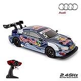 Offiziell lizenziertes ferngesteuertes Auto CMJ RC Cars ™ AUDI RS5 DTM im Maßstab 1:16, 2,4 GHz, Blau / Red Bull