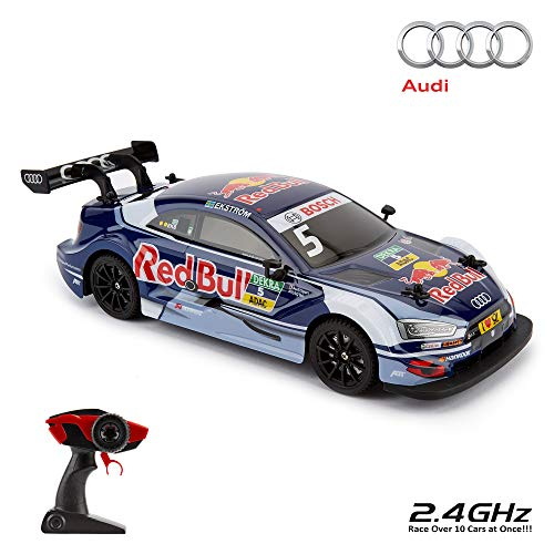 CMJ RC Cars ™ AUDI RS5 DTM Coche de control remoto con licencia oficial 1:16 Escala 2.4Ghz Azul / Red Bull
