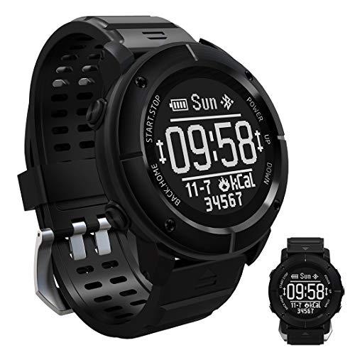 OOLIFENG Smartwatch mit integriertem GPS-Höhenmesser, Barometer, Kompass, Herzfrequenzmesser, IP68, wasserdicht, Digitale Sportuhr für Outdoor-Sport, Schwarz