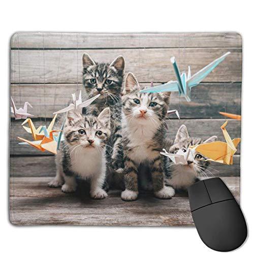 Alfombrilla de ratón para Juegos, al Gato le Gusta la grúa Estampado de Origami Alfombrilla de ratón para Juegos Borde Cosido Alfombrilla de ratón más Gruesa para Oficina