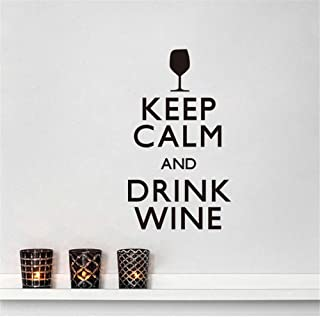 pabear Quotes Wall Sticker Mural Decal Art Home Decor Keep Calm and Drink Wine Fashion Quote Home Decor Bar Kitchen