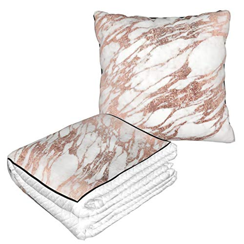 Manta de almohada de terciopelo suave 2 en 1 con bolsa suave Chantelletion Chic elegante funda de almohada blanca y oro rosa para el hogar, avión, coche, viajes, películas