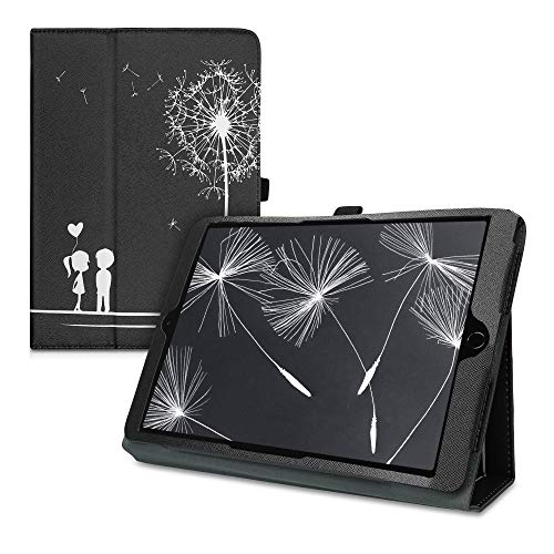 kwmobile Case Compatible with Apple iPad Air 3 (2019) - Slim PU Leather Tablet Cover with Stand Feature - Dandelion Love White/Black
