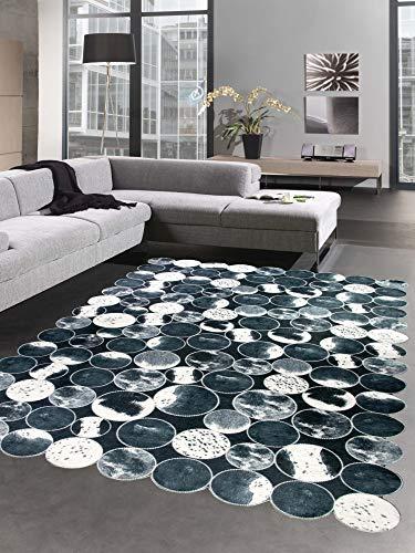 CARPETIA Kuhfell Teppich Patchwork in Schwarz Grau Creme Größe 120x160 cm