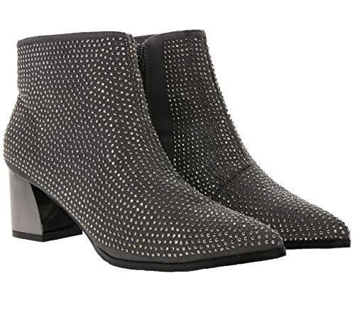 xyxyx Schuhe Ankle-Boots modische Damen Stiefelette mit Schmucksteinen Frühlings-Schuhe Mode-Schuhe Grau, Größe:38