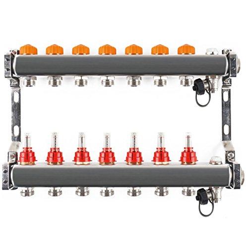 Edelstahlverteiler mit automatischem Abgleich 7 Heizkreise