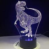 Luz de noche 3D Tyrannosaurus Rex Dinosaur 3D Lámpara LED Luces nocturnas con 7 colores de luz para la decoración del hogar Visualización Óptica sin marca