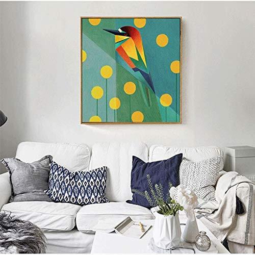 ganlanshu Nórdico Creativo pájaro decoración Pintura Moderna Sala de Estar Dormitorio Comedor sofá Fondo Pared Cartel,Pintura sin Marco,40X40cm