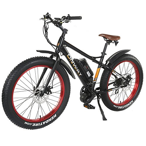 Onway Electric Bike Fat Tire - Breeze Fat TIRE Electric Mountain Bike for Smooth Ride Across Sand, Snow, Ice, Gravel, Commuter Bike, 500w or 750w, 48v 10 Ah Samsung Lithium Ion Battery