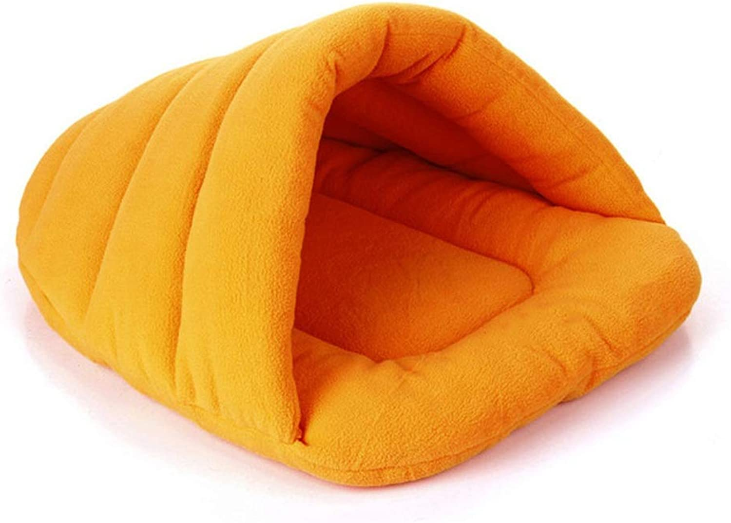 HKJhk Pet Dog Cat Hole Half Covered Soft Comfort Sleeping Bag Hug Cave Mat Bun Warm House Bed Blanket Pet Bed (color   Yellow, Size   L)