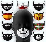 Teschio con sorriso nero poliuretano filtro anti-inquinamento Pm2,5, sicurezza pita lavabile spugna viso