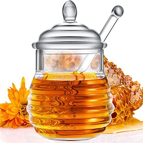 Acrylic Honey Jar with Dipper and Lid Honey Pot