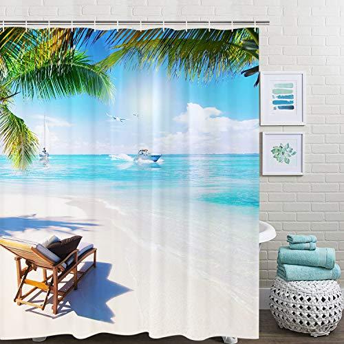 Elloevn Strand Meer Grün Duschvorhang, Antischimmel Wasserdicht Stoff Textil Duschvorhänge, Sonne Meer Himmel Wolken Abwaschbar Shower Curtain, 175x178 cm