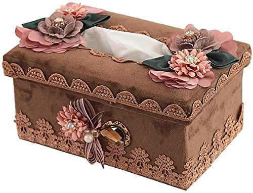 KMILE Caja de pañuelos Decoración Moda Dormitorio Caja de pañuelos Europea Bandeja Creativa Simple Hogar Escritorio Caja de Almacenamiento 19x11x8.5cm Caja de pañuelos