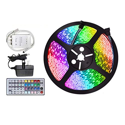 LED Strip Lights, Color Changing Rope Lights, Waterproof 16.4ft 3528 RGB 300 LED Flexible Light Strip Kit with 44-Keys IR Remote Controller & Power Supply Ribbon DIY