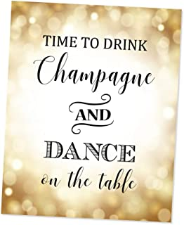 Time To Drink Champagne And Dance On The Table, Party Art Print, Gold Bokeh Art Print, Champagne Quote Wall Art, Unframed Print, 8