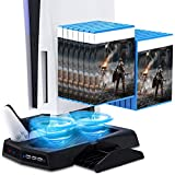 Arespark PS5 Console Vertical Stand with Cooling Fan,Playstation5 New Console Cooling Stand for Digital Edition & Ultra HD with 2 Controller Charge Station&14 Game Boxes Storage,USB Charged