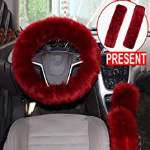 Forala 1 Set 5 Pcs Car Steering Wheel Cover & Handbrake Cover & Gear Shift Cover Set & Seat Belt Shoulder Pads Faux Wool Warm Winter (Wine Red) (Wine Red)