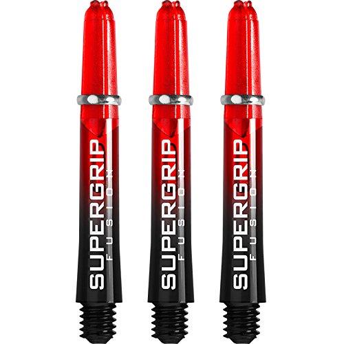 Harrows Supergrip Fusion Dart-Schäfte–schwarz/rot–kurz–5Sets (15 Stück)–mit Curvy-Kugelschreiber von Darts Corner