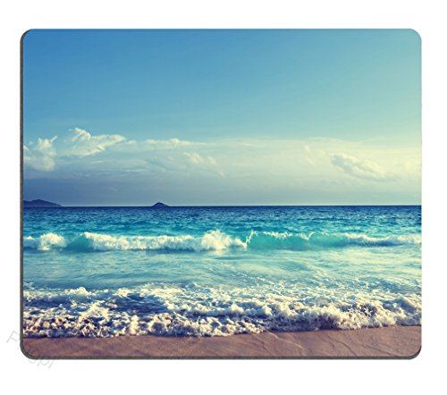 Pingpi Mouse Pad Custom Design,Seychelles Beach in Sunset Time Gaming Non-Slip Rubber Large Mousepad Mat