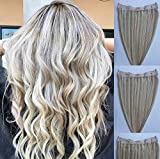 20 inches 100% Human Hair Extensions,100 Grams, Halo Style ONE PIECE NO CLIP with an adjustable invisible wire Fishing String #18/613