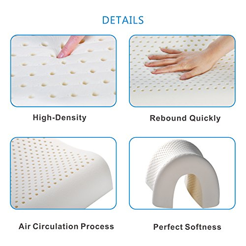 UUQ Latex Pillow - Low & High Orthopaedic Dunlop Design Comfort Pillow for Neck and Shoulder Pain, Hypoallergenic Anti-mite Dust for Sleep, Natural Foam Medium Firm, Standard Size (58 x 40 x 10/12cm)