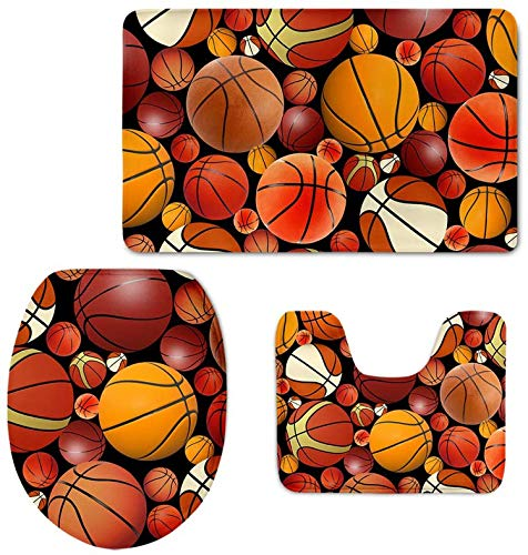 Bernice Winifred 3 PCS Badteppichmatten Sport Baseball Drucke rutschfeste Badematte/Deckel Toilettendeckel/Kontur Teppich-Basketball3-
