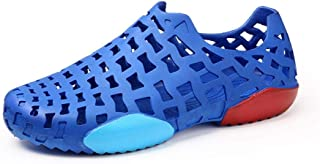 QinMei Zhou Clogs Sandals for Men Beach Shoes Round Toe Slip on Synthetic Leather Hollow Upper Casual Cozy Breathable Flat Anti-Skid (Color : Blue, Size : 6.5 UK)