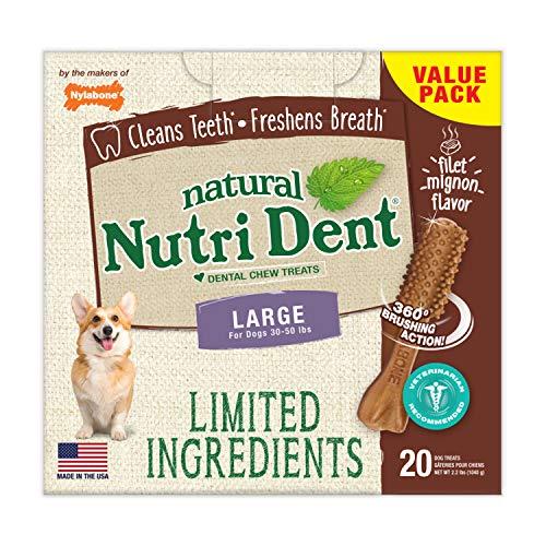 Nylabone NutriDent Natural Dental Chew Treats Filet Mignon, Large, 20 Count