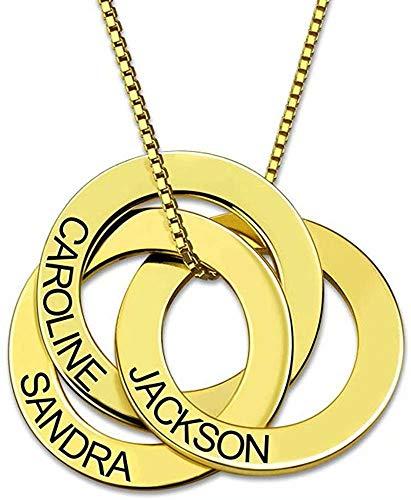 Custom 3 Kreis Mütter Tag Russische Ring Name Halskette personalisiert? Mit Gravur Gold-Disc-Halskette